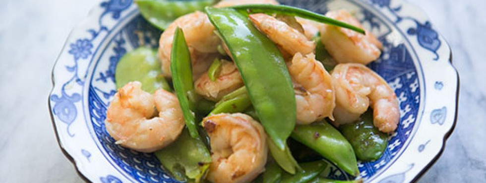 Spicy Garlic Shrimp, Snow Peas And Ginger Stir-Fry